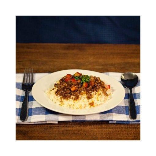 Comida Arroz con Salsa Barbecue y Carne Picada